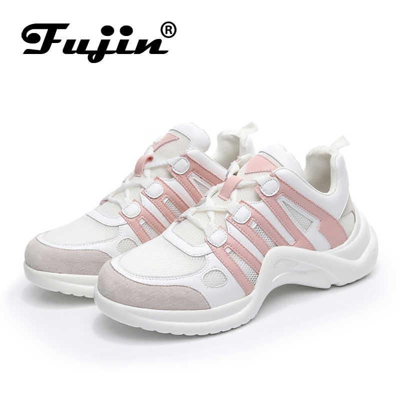 969460db796 ... Fujin Sneakers mujer 2019 transpirable malla Casual zapatos mujer moda  Zapatillas encaje alto ocio mujeres Vulcanize ...