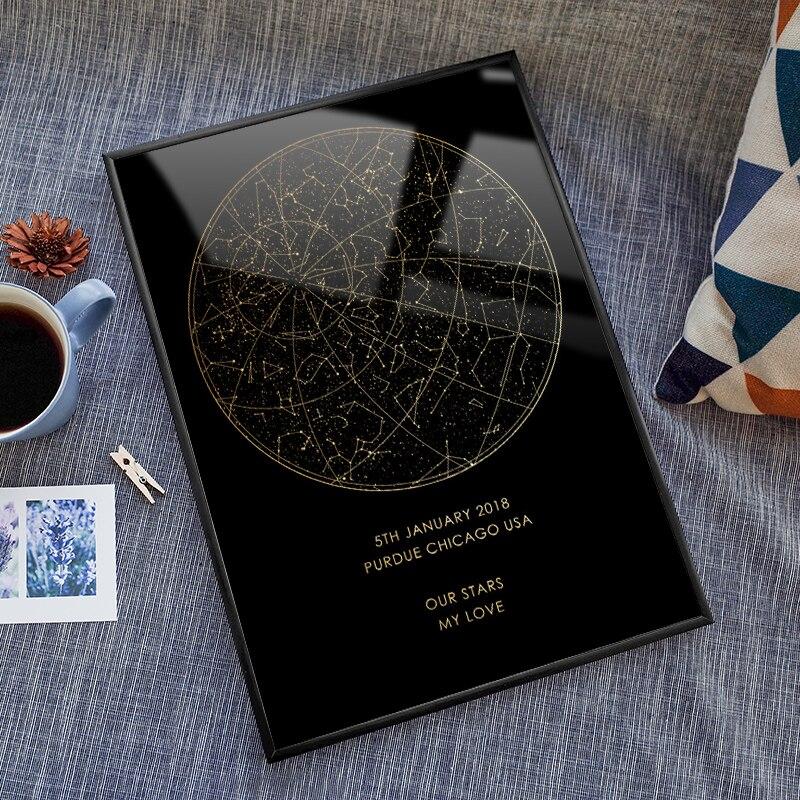 Céu noturno personalizado impressão emoldurado estrela mapa constelações engajamento poster digital personalizado aniversário pintura presente para ela