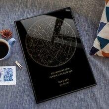 Пользовательские ночное небо Печать обрамленная Звезда карта созвездия помолвка цифровой плакат персонализированные юбилей живопись подарок для нее