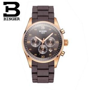 Image 3 - שוויץ גברים של שעון יוקרה מותג BINGER קוורץ רב תצוגת ספורט סיליקון שעוני יד עמיד למים זכר שעון B1101 4
