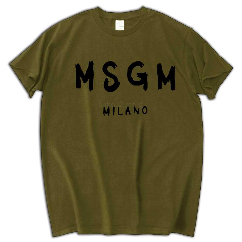 f6487dc3f Men MSGM T Shirt Summer shubuzbi Brand Letter Printed Tops Tee Cotton  O-Neck White