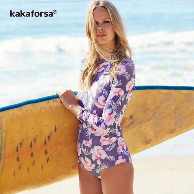 cd1fa5178b971 Kakaforsa 2019 Print Floral One Piece Swimsuit Long Sleeve Swimwear Women Bathing  Suit Retro One Piece Surfing Suits Monokini