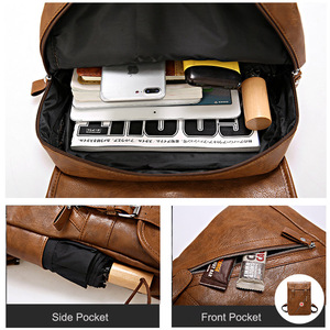 Image 2 - Travel Leather Backpack Men Waterproof Vintage Bag Large Capacity Back Pack Fashion Bagpack Laptop Backpacks Casual Bags For Men