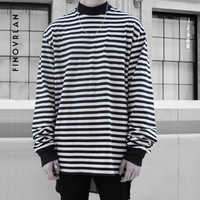 Justin Bieber Herbst Neue gestreiften T-shirt Mens Baumwolle Gestreiften Langarm T Shirt männer hip hop Schwarz Weiß T-shirt straße tragen