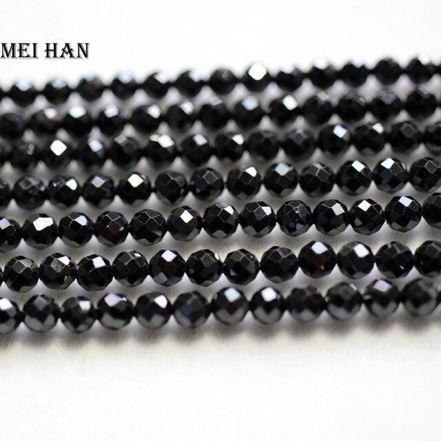 Meihan Frete grátis (3 2strands/set) 4 milímetros natural preto spinel facetada rodada solta pérolas para a jóia DIY colar projeto ou presente