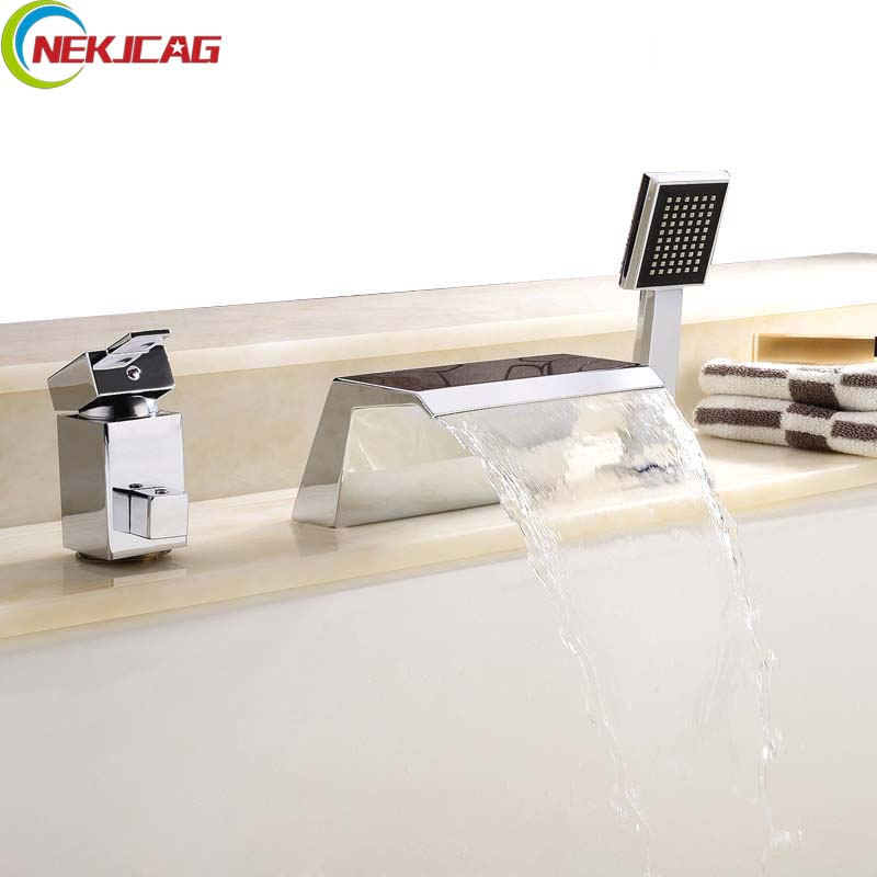Deck Mounted Single Handle Waterfall Bathroom Bathtub Faucet with Hand Shower Chrome Finished Hot and Cold Water wholesale and retail deck mounted square waterfall bathtub faucet single handle chrome finish bath spray w hand shower
