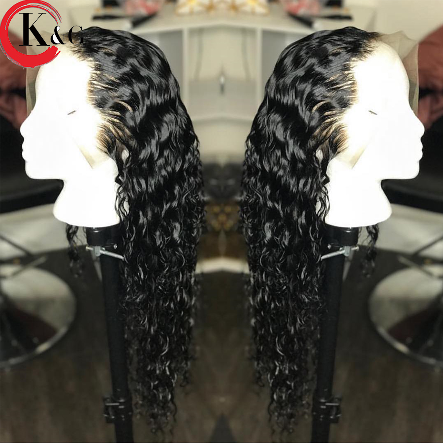 KUNGANG Curly Lace Front Human Hair Wigs Bleached Knots Brazilian Hair Wig 13*4 With Baby Hair For Women 130% Density No Remy