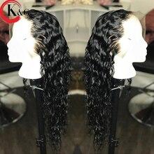 KUNGANG вьющиеся человеческие волосы спереди, парики отбеленные узлы, средний рацион, 13*4 с детскими волосами для женщин, 130 Плотность, без Реми