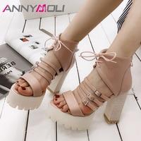 ANNYMOLI Summer Gladiator Shoes Women Sandals Zipper Platform Square Heels Shoes Buckle Extreme High Heels Sandals Lady Size 42