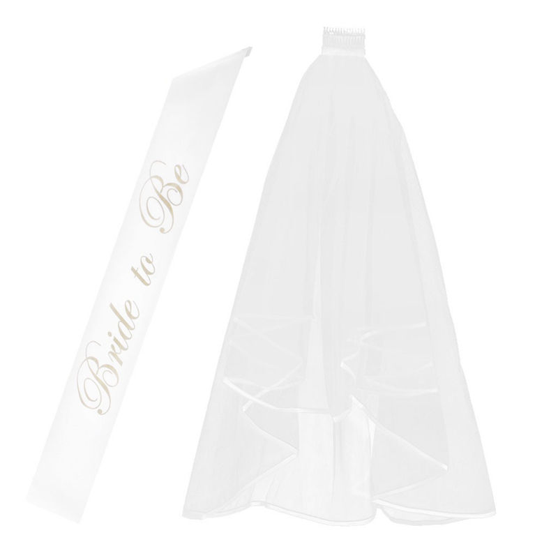 2 Layer Wedding Veil With Comb And Bride to Be Satin Sheer Party Decoration