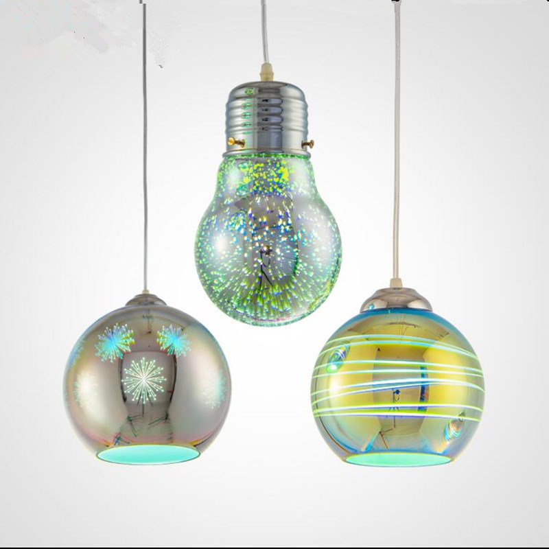 3D FireWork Colorful Glass Ball Pendant Light Hanging Bulb Lamp For Restaurant Cafe Shop Bar Home Decor neon sign for donuts bar cakes cave real glass tube beer pub restaurant signboard store display shop light signs 17 14
