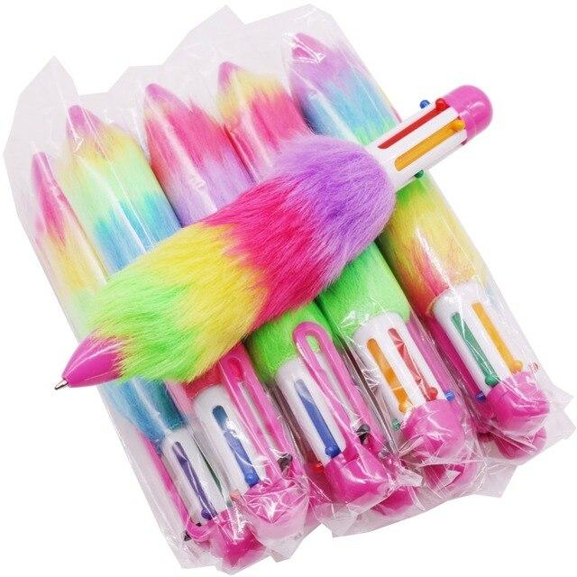 50 шт. плюшевая ручка, шестицветная шариковая ручка, оптовая продажа, канцелярские товары для творчества студентов, Офисная подарочная ручка для письма