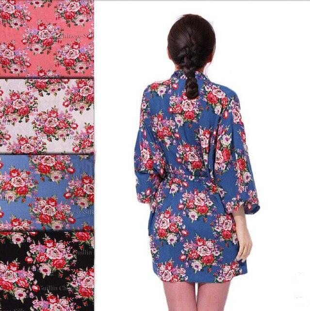 10a579c2f6 New Floral Robes Women Wedding Bridal Kimono Robe Flower Cotton Lady Spa  Night Dress 12 colors Free Shipping