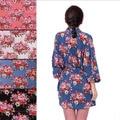 Novas Vestes Florais Mulheres Nupcial Do Casamento Kimono Robe Spa Senhora Noite Vestido de Flor de Algodão 7 cores Frete Grátis