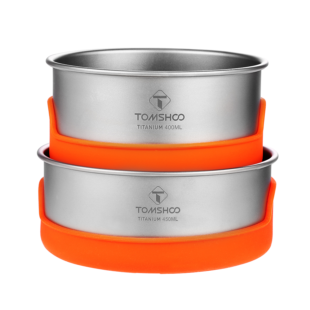 TOMSHOO Outdoor Camping Ultralight Titanium Bowl Sets Silicone Insulation Camping Bowl Tableware Picnic Water Cup Mug Cookware