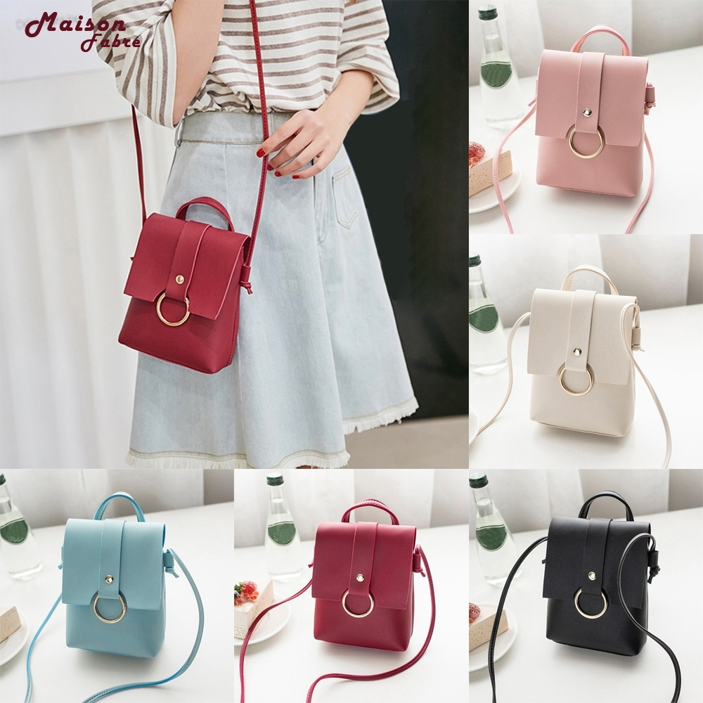 Women Solid Color Cover Ring Crossbody Bag Messenger Bag Coin Phone Bag_Apr17 stylish women s crossbody bag with solid