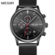 Fashion Top Luxe Merk Quartz Horloges Herenmode Rvs Mesh Band Sport Horloge Chronograaf Klok Mannelijke