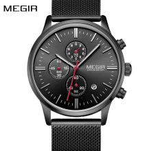 Fashion Top Luxury Brand Quartz Watches Mens Fashion Stainless Steel Mesh Band Sport Watch Chronograph Clock Male