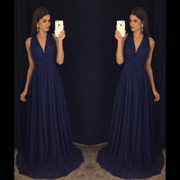 2018 Sexy Deep V neck A line Bridesmaid Dresses Navy Blue Lace Pleats African Bridal Prom Dress Party Gowns Maid Of Honor Dress