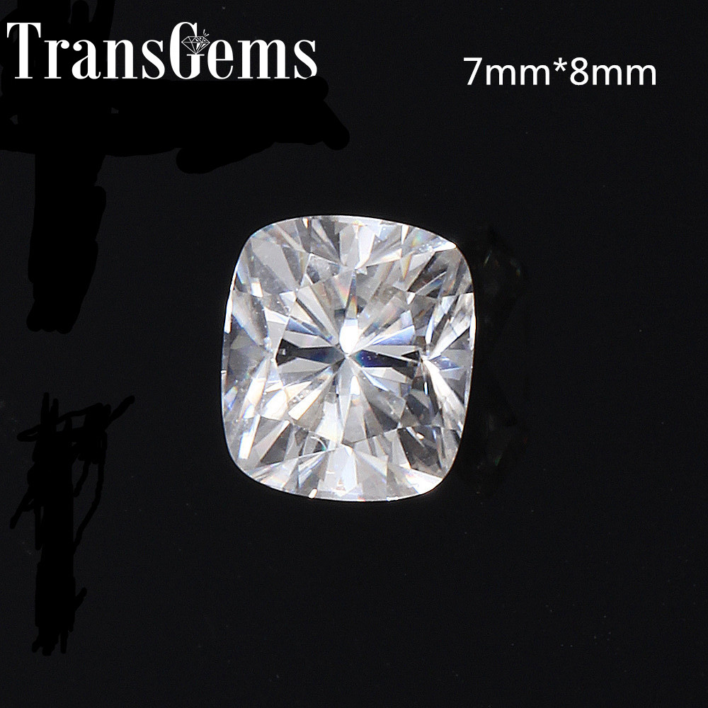 TransGems 7mm*8mm 2 Carat F Color Cushion cut Lab Grown Moissanite Diamond Loose Stone Test Positive As Real Diamond genuine14k 585 white gold push back 1carat ctw test positive lab grown moissanite diamond earrings for women