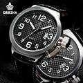 Orkina 2016 Mens Big Face Sport Watches Black Leather Japan Quartz Auto Date Large 52mm Silver Clock For Men Sports Wrist Watch