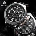 Orkina 2016 Mens Cara Grande Relógios Esportivos de Couro Preto Quartzo Japão Auto Data Grande 52mm Prata Relógio Para Homens Sports Relógio de Pulso