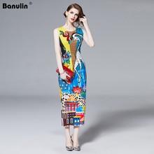Banulin 2019 Runway Designer Summer Dress Women Sleeveless Luxury Sequin Animal Print Beading Applique Elegant Vestidos