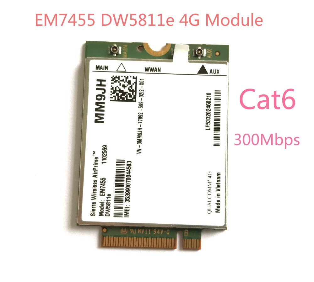 EM7455 DW5811e LTE-FDD LTE-TDD 4G Module 4G Card Cat6 For Dell Laptop PN MM9JH