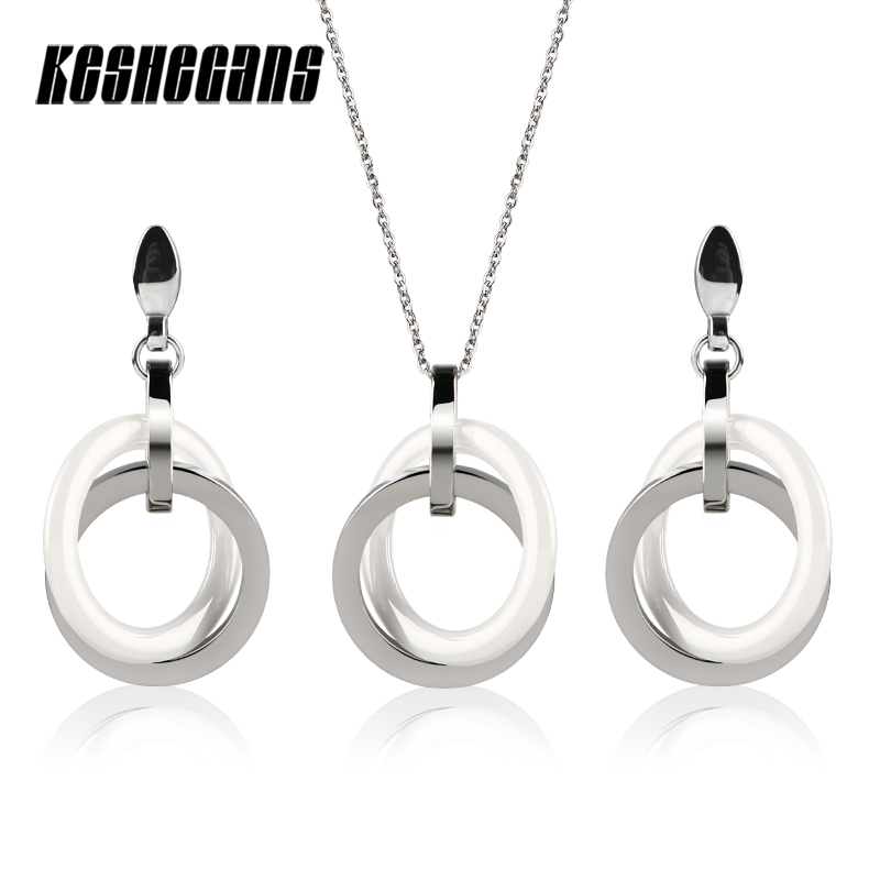 Simple Design Double Circle Jewelry Set White Ceramic Steel Circle Drop Earrings Trendy Pendant Necklace Women Fashion Jewelry tardoo crossed double circle necklace 925 silver simple double circle gold necklace women fine jewelry hoop pendant necklace