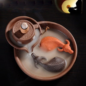 Image 4 - Hot Purple Clay Smoke Backflow Incense Ceramic Burner Sticks Holder Cone Lucky 2 Cattles Living Tea Room Smell Removing Too