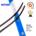 "Car Windshield Wiper Blade Para Skoda OCTAVIA (2013 +), 19 ""+ 24"", borracha Natural, bracketless limpa, Acessórios do carro"
