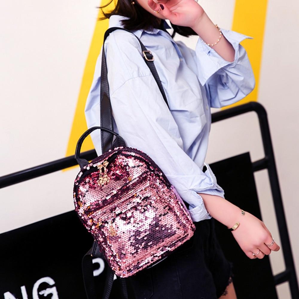 Women Shining Sequins Backpack Pu Leather Rucksack Girl Mini Travel Shoulder Schoolbag Backpack Female Leisure Mochila Feminina #2
