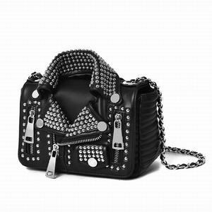 Ameiliyar Designers Women Leather Bags Handicraft Rivet Jacket Punk Style Messenger Bags Shoulder Crossbody Bag Gold Silver(China)