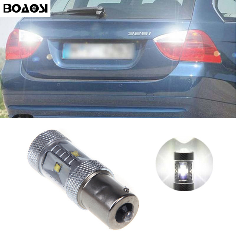 BOAOSI 1x 1156 BA15S P21W Canbus NO Error High Power 30W Cree Chips LED Rear Reversing Tail Light Bulb For BMW E30 E36 E46 F30 error free 1156 socket 360 degrees projector lens led backup reverse light r5 chips replacement bulb for peugeot 307 2003 2012