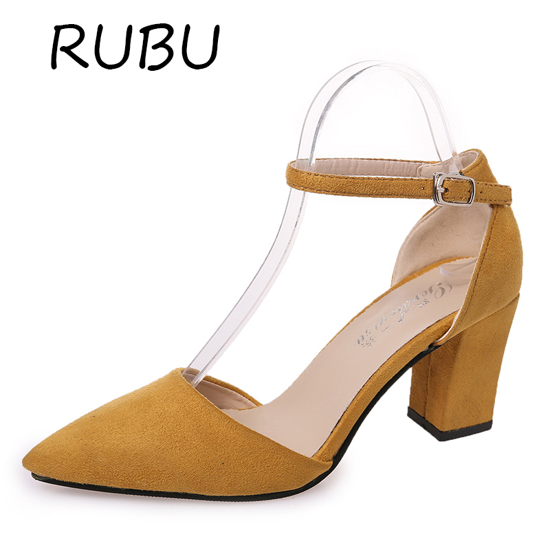 Women Shoes Mary Janes High Heel  Square Toe Shallow Pump Buckle Strap Summer Chaussure Femme Casual Flock Shoe 7.5cm Mujer zno cds core shells optical sensor fabrication using chemical method