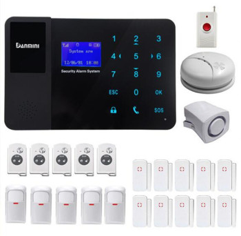 GSM Alarm System With Smoke Sensor 5PIR Detector 10 Door Contact 5 Remote Controller