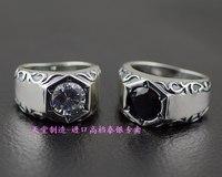 925 Чистое серебро винтажное мужское тайское серебряное кольцо двухцветное
