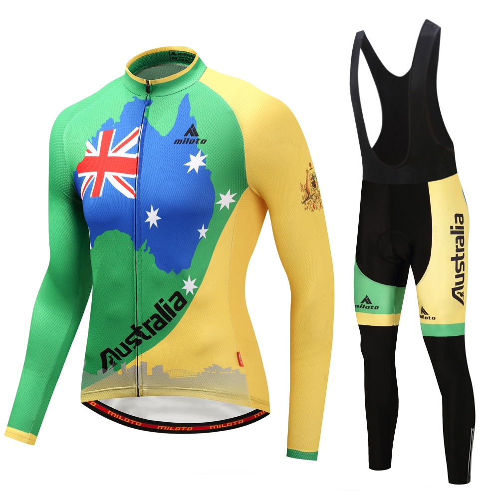Australia Bike Bicycle Long Sleeve Jersey Set Men Cycling Team Long Clothing Green Cycling Jersey Cycling Wear Pants S-4XLAustralia Bike Bicycle Long Sleeve Jersey Set Men Cycling Team Long Clothing Green Cycling Jersey Cycling Wear Pants S-4XL
