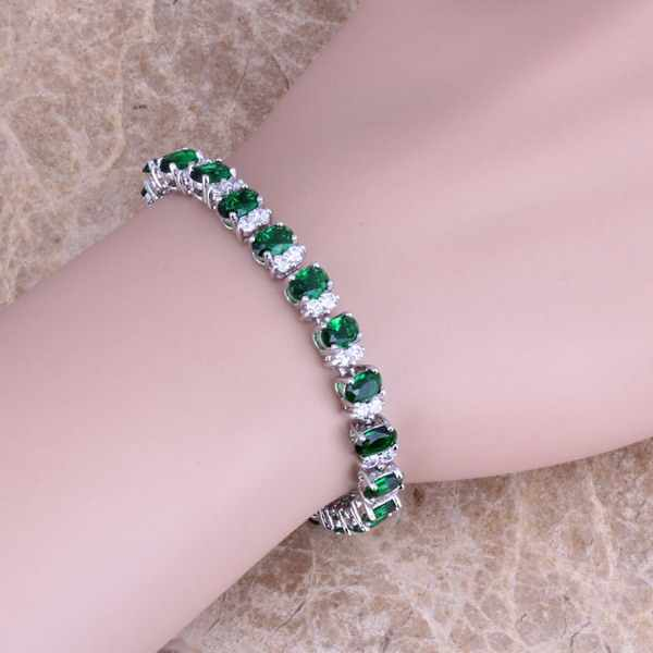 Wonderful Green  Cubic Zirconia White CZ 925 Sterling Silver  Link Chain Bracelet 7 inch  S0359