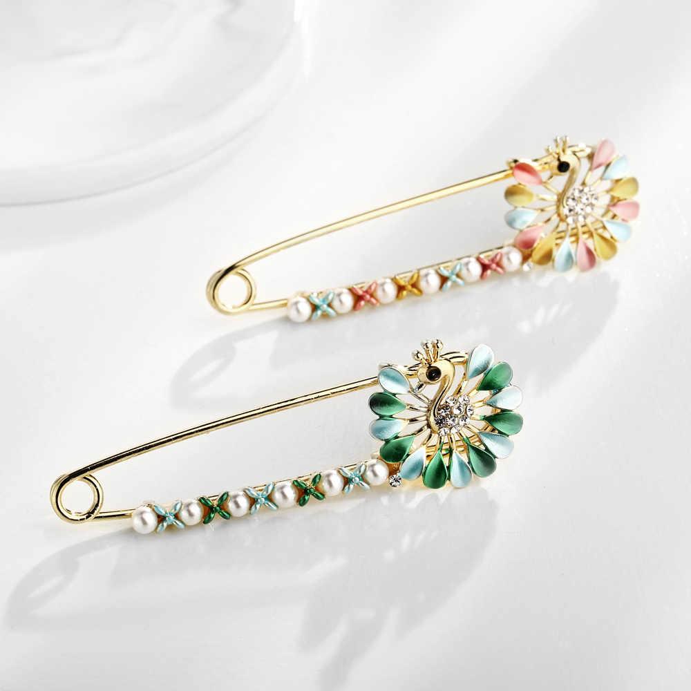 Ukuran Besar Liontin Opal Pesona Jilbab Syal Pins untuk Wanita Burung Merak Hijau Butterfly Serangga Pearl Ikatan Simpul Bros untuk Wanita Perhiasan