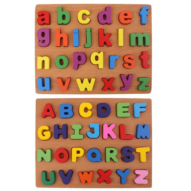 Wooden Puzzle Letters Toy Kids Baby Alphabet Early Educational Toy Gift