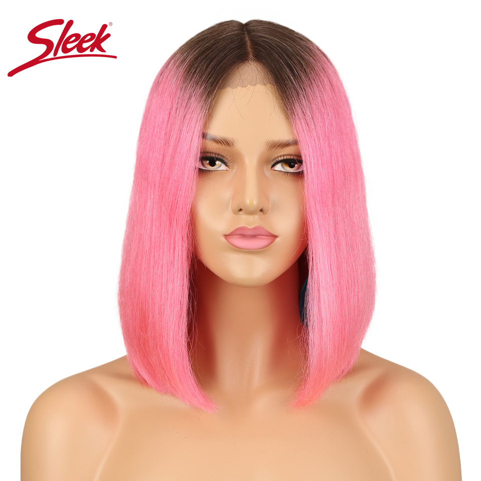 Sleek Silky Straight Short Bob Middle Part Lace Front Human Hair Wigs For Black Women Brazilian Ombre Pink Red Color Remy Wig