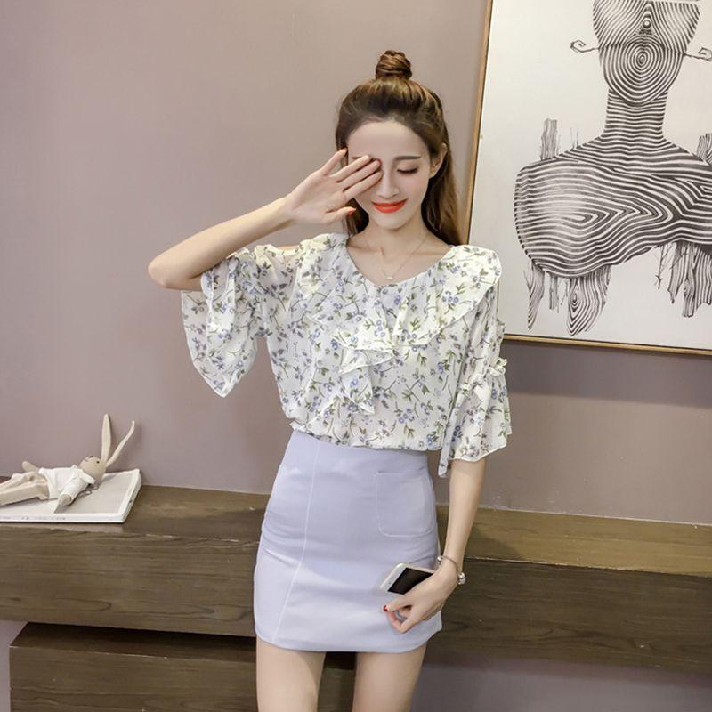 Femme Camisetas Mujer Ladies Floral Print Plus Size Blouses Bohemian Style Short Sleeve V-Neck Chiffon Shirts