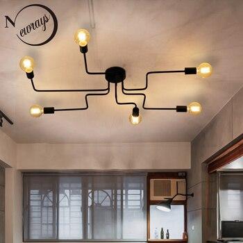 Креативный Простой Современный Железный промышленный потолочный светильник LED E27 Европейский потолочный светильник для гостиной спальни г...