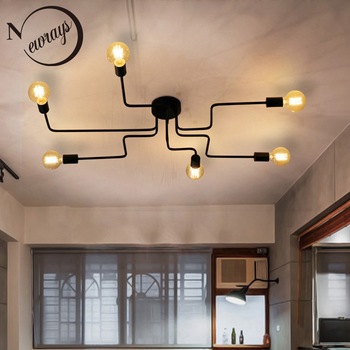 Creative simple modern iron industrial ceiling lamp LED E27 Europe ceiling light for parlor bedroom living room kitchen study фото