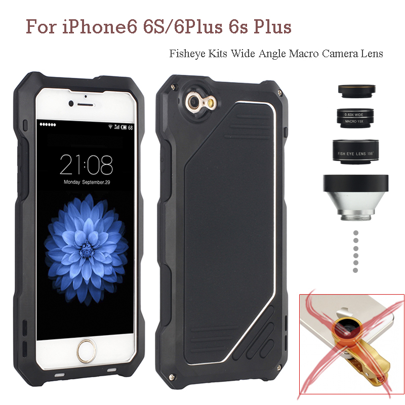 For iPhone6 6s/6Plus 6sPlus Cases 3 in 1 Back Fisheye Kits Wide Angle Macro Camera Lens Waterproof Diving Protective Case Cover