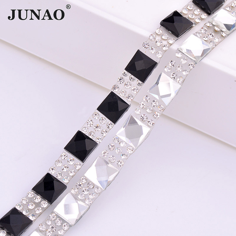 JUNAO 5 Yard * 8mm Clear Black Square Rhinestones Stof Kæde Glas Mesh Trim Hotfix Crystal Applique Band Til DIY Tøj Sko