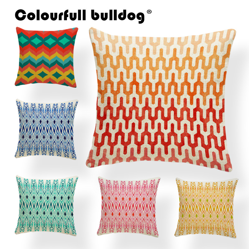 Geometry Cushion Case Checkered Pillow Case Cover Retro  Living Room Baby Birth Gifts Diamond Throw Pillow Cover 17X17 Burlap