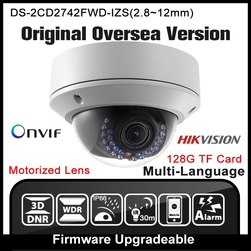 Hikvision DS-2CD2742FWD-IZS Original English Version IP camera Varifocal POE P2P Onvif Security Camera CCTV Camera H265 IPC видеокамера ip hikvision ds 2cd2642fwd izs цветная