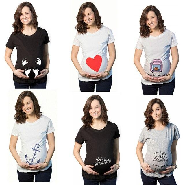 e06b78103 Verano premamá Camisetas manga corta Casual embarazo ropa divertida para  mujeres embarazadas Marternity Ropa Camisetas Tops